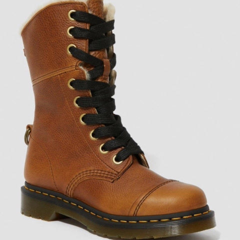 Dr Martens Aimilita Tan Leather 9 Eyelet Fur Lined Boots