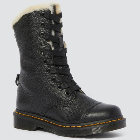Dr Martens BLACK Leather AIMILITA 9 Eyelet Fur Lined Boots