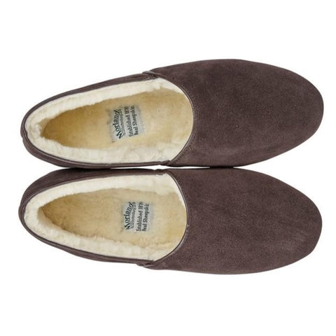 Morlands Mens Dunbar Brown Suede Sheepskin Lined Slipper
