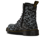DR Martens 1460Y Script BLACK Romario Leather