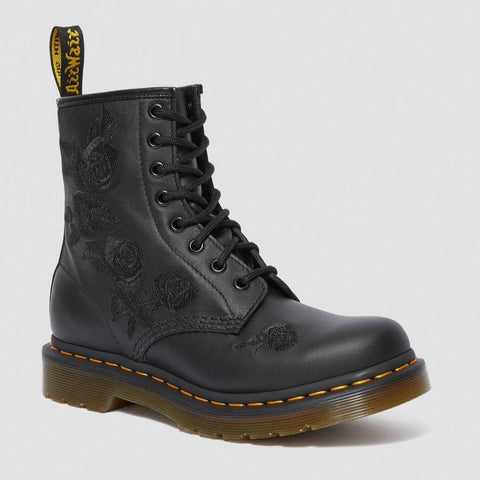 Dr Martens 1460 Vonda Mono BLACK leather with embroidered Roses