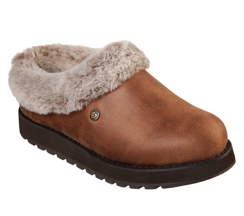 Skechers Tan Faux Leather Clog Slipper with outdoor sole