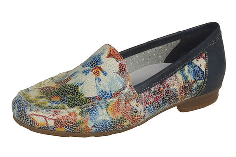 Ladies Rieker 40089-91  Leather Loafer Shoe in Floral Multy