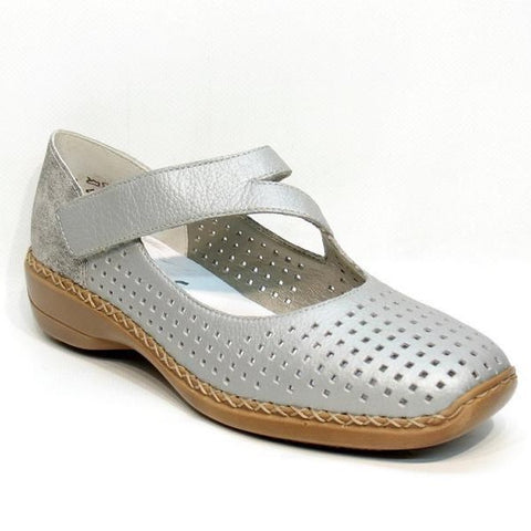 Rieker Ladies 41345-90 Silver Shoes