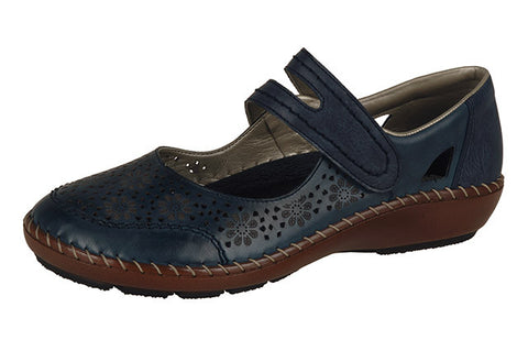 Rieker Ladies leather casual bar shoe 44875-14 Blues