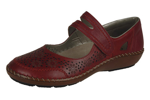 Rieker Ladies leather casual bar shoe 44875-33 Rosso