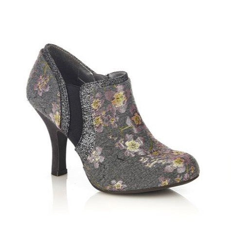 Ruby Shoo Juno GREY Floral Shoe Boot
