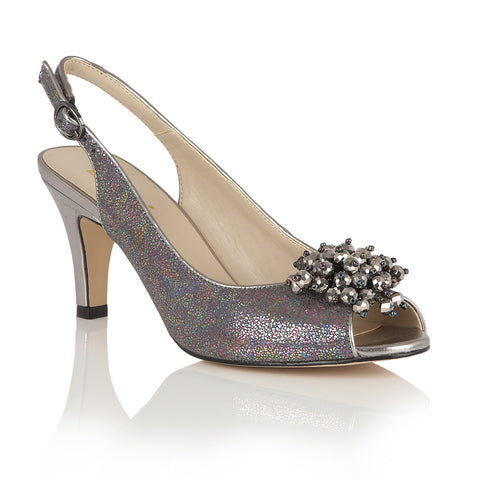 Lotus Clematis Pewter Metallic Sling-Back Court Shoes