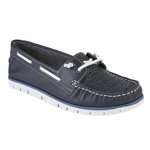 Lotus 50916 Lazer Navy Leather Boat Shoe