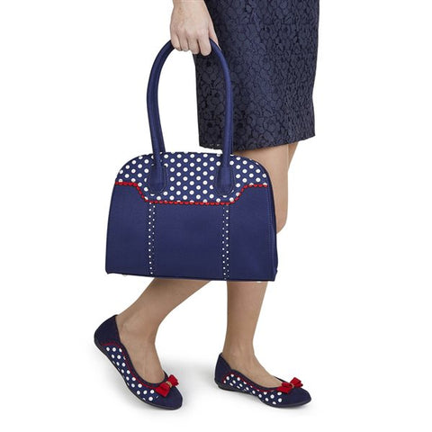 Ruby Shoe Montpellier NAVY SPOTS Bag to match lizzie shoe