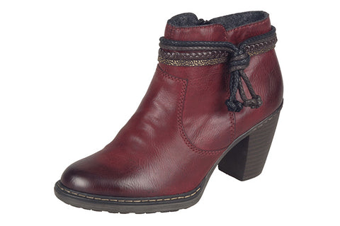 Ladies Rieker Ankle Boot 55298 Burgundy