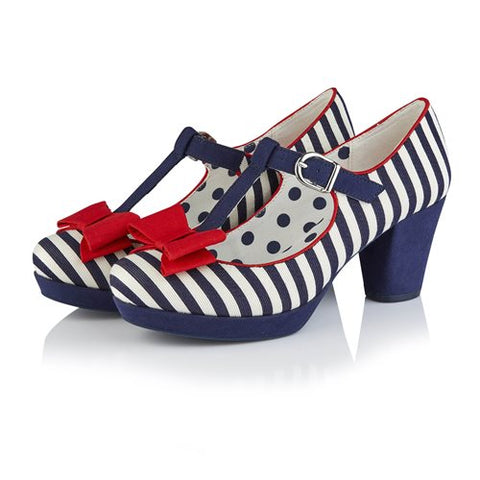 Ruby Shoo Jazz NAVY STRIPE Bar Shoe