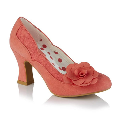 Ruby Shoo Chrissie CORAL Court Shoe With Flower Trim