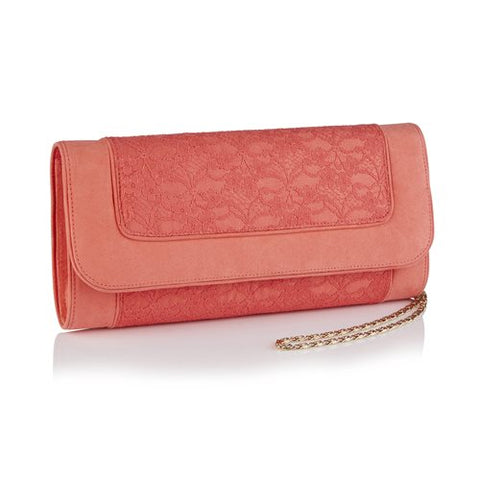 Ruby Shoo Tirana CORAL Clutch Bag to Match Chrissie Shoes