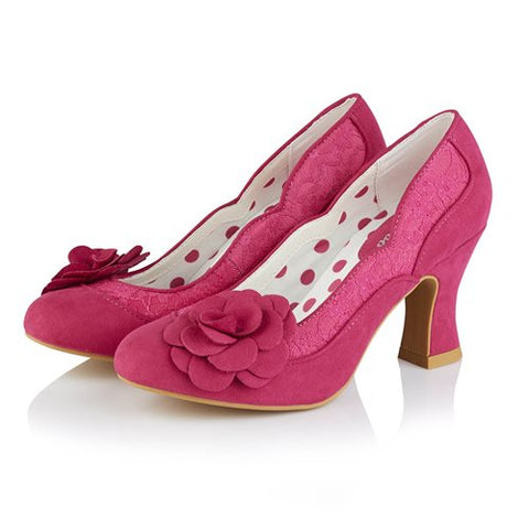 Ruby Shoo Chrissie FUSCHIA Court Shoe With Lace and Flower Trim