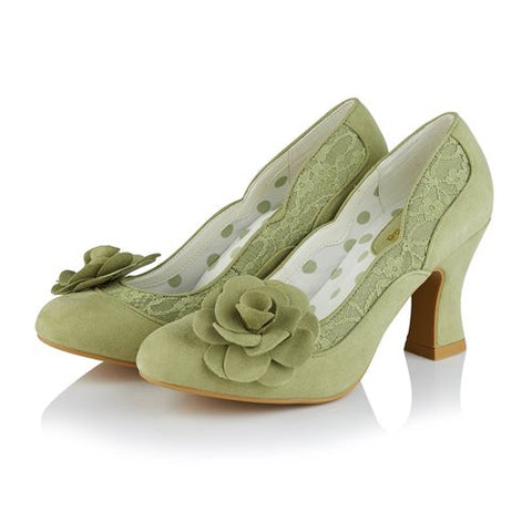 Ruby Shoo Chrissie PISTACHIO Court Shoe with Lace and Flower Trim