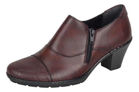 Ladies Rieker Shoe Boot 57173 Bordo Leather