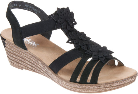 RIEKER 62461-00 LADIES Black COMBINATION SANDALS