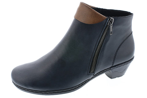 Ladies Rieker Ankle Boot 76961 Navy Leather