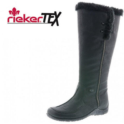 Rieker 79954-00 BLACK long boot with tex waterresistant lining