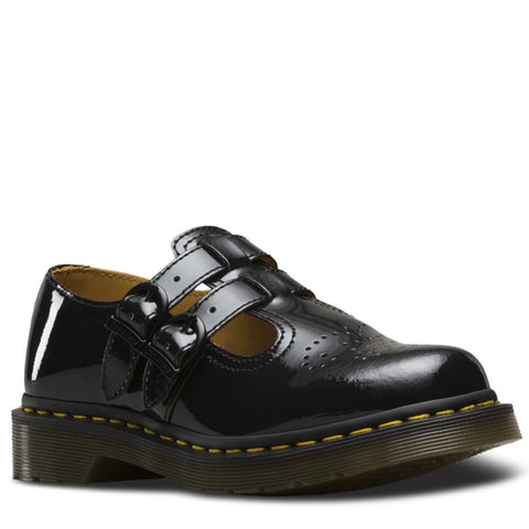 Dr. Martens Ladies 8065 Mary Jane Double Bar Shoe Black Patent