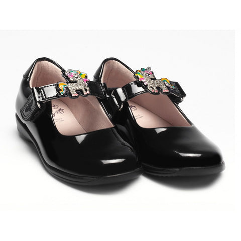 LELLI Kelly 8311 BONNIE UNICORN CHANGEABLE STRAP SHOES F FIT BLACK PATENT