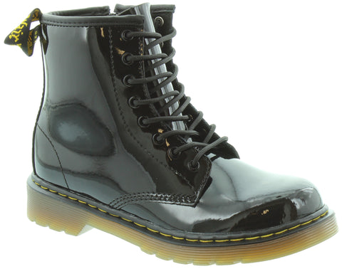 Dr Martens 1460Y BLACK PAT 8 eyelet boot with laces and inside zip
