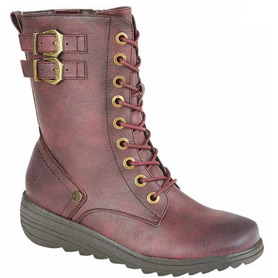 Cipriata L387 BD Burgundy 9 Eyelet Lace up boot with Inside Zip