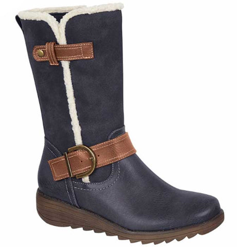 Cipriata L467NC Pamela Womens Navy Zip Up Mid Calf Boots