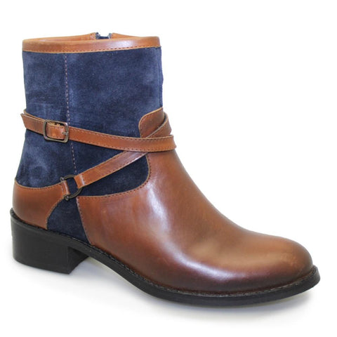 Ladies Lunar Ankle Boot Duty Navy and Tan Leather code: GLH460