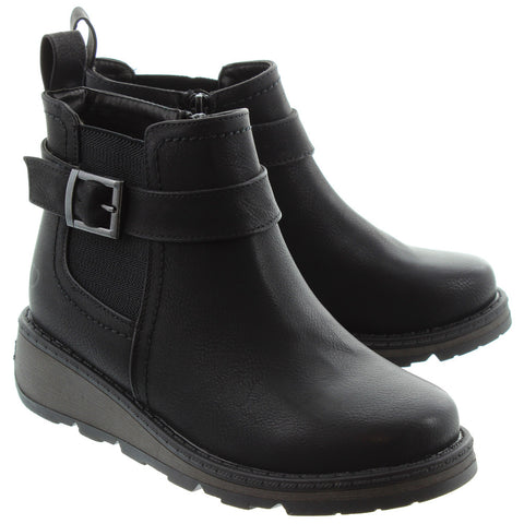 HEAVENLY FEET KENDAL BUCKLE CHELSEA BOOTS IN BLACK