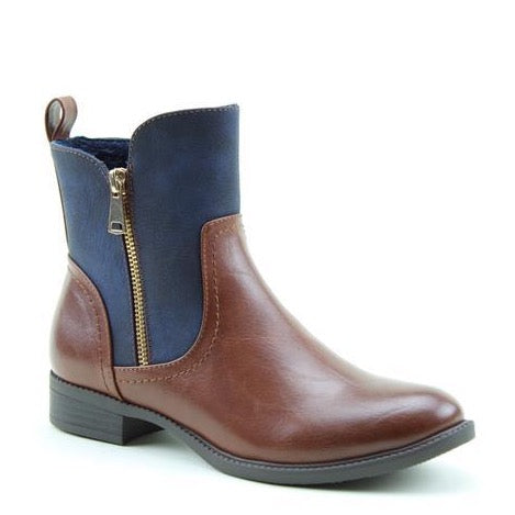 Heavenly Feet Petra TAN/NAVY Vegan Friendly Ankle Boot