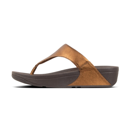 Fitflop Lulu BRONZE Leather Toe Thongs