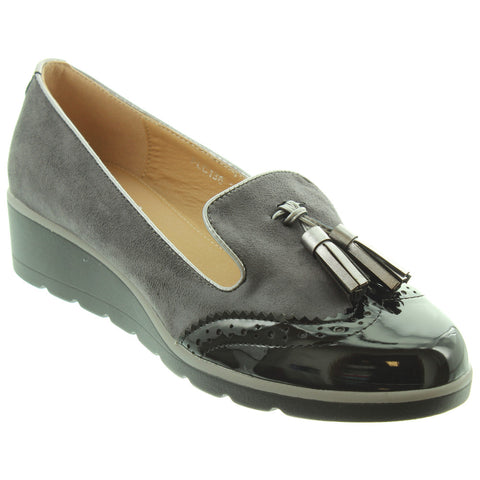 Lunar Karina GREY . Faux Suede/ Patent Brogue Wedge Shoe