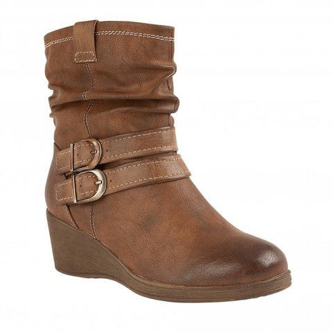 Lotus Hunston Wedge Ankle Boots Tan