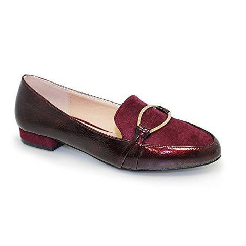 Lunar Ladies  ASHA Burgundy Patent Slip On shoe