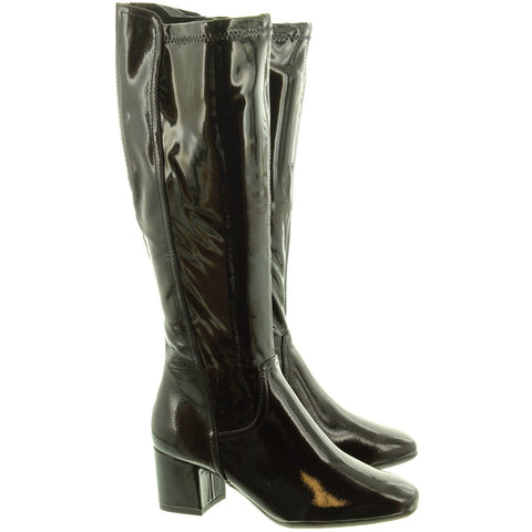 Marco Tozzi 25521 BLACK  Patent Knee Boots
