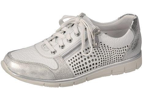 Ladies Rieker  N4025-80 Casual Lace up Zip trainer Shoe in White and Silver