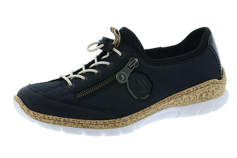 Ladies Rieker  N4263-14 Casual Lace up  trainer Shoe in Navy