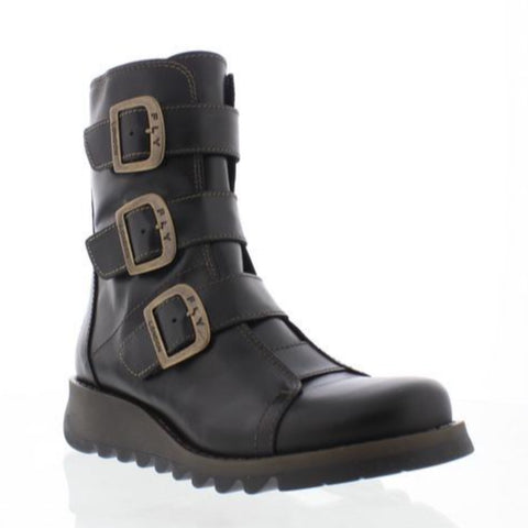 Fly London Scop BLACK Biker Pirate Buckle Boot