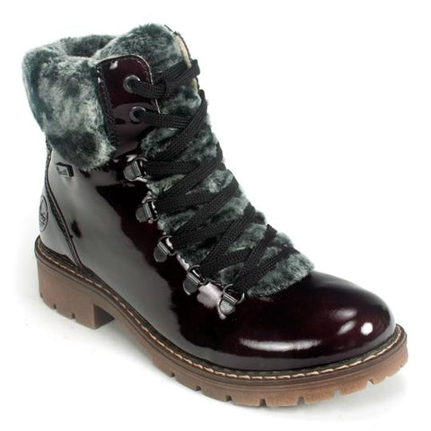 Rieker Ankle Boot with Fur Trim Y9124-35 Wine Patent