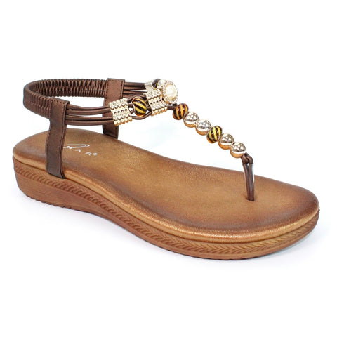Lunar Acorn BROWN Glitzy Toe post Sandal JLH107BR