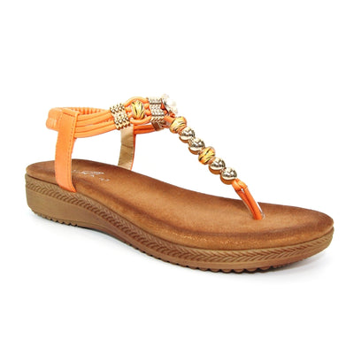 Lunar Acorn  JLH107 Orange Beaded Toe Post Sandal