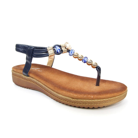 Lunar Acorn  JLH107 navy beaded Toe Post Sandal