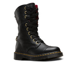 Dr Martens Aimilita Black Leather 9 eyelet Boot Tartan Lining