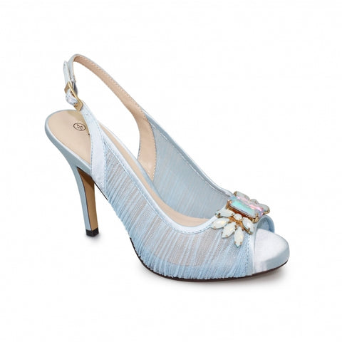 Ladies Lunar Court Shoe FLR461 Amalfi in Blue matching bag available
