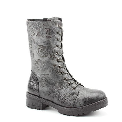 Heavenly Feet Arabella Grey Rose print Vegan Friendly Biker Boot