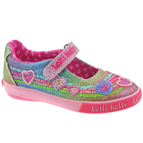Lelli Kelly LK5072 (GX02) Multi Glitter Rainbow Hearts Adjustable Dolly Shoes