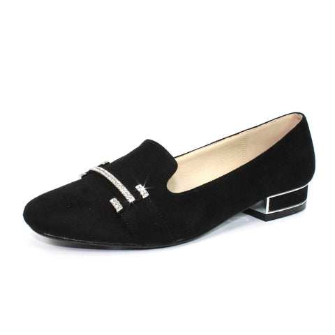 Lunar Beattie BLACK Suede Diamante trim Pump