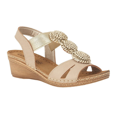 Lotus Ladies Beige Saphira Wedge Sandals